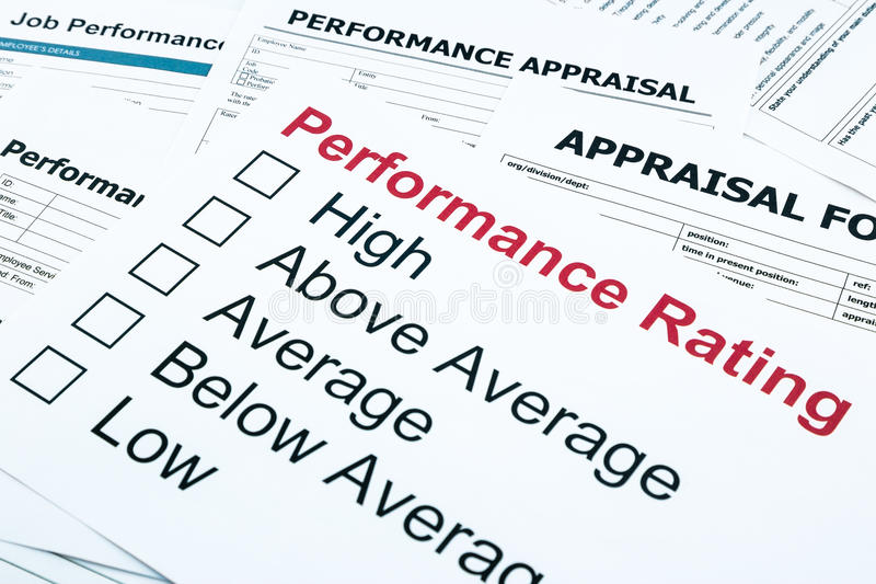 Performance Rating And Appraisal Form Stock Photo - Image of check