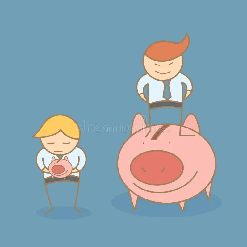 Personaje De Dibujos Animados De Ricos Y De Pobres Ilustración del