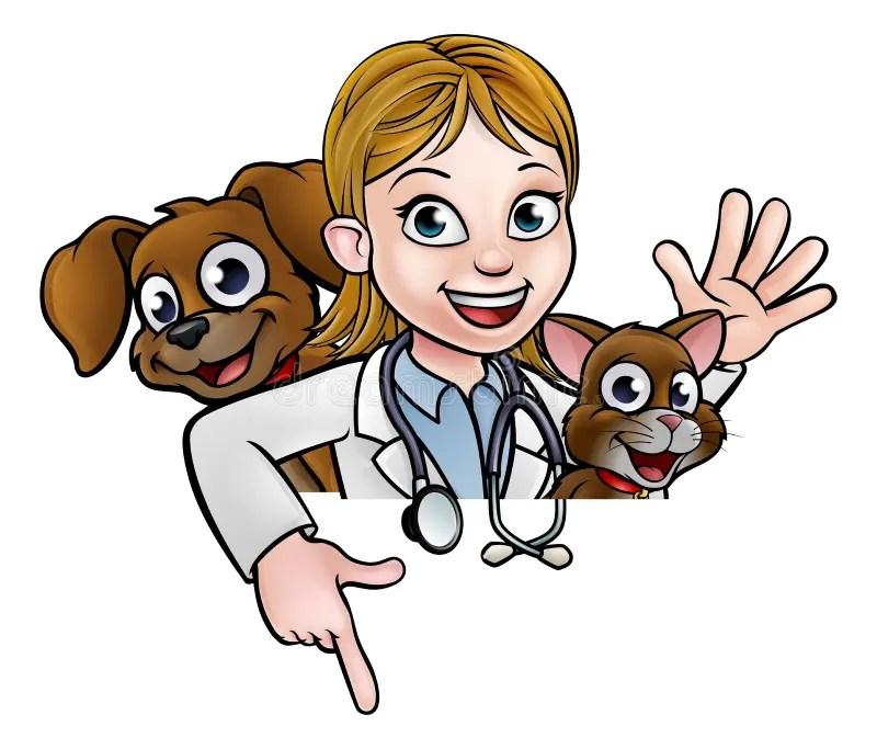 Personaje De Dibujos Animados Del Veterinario De La Mujer Que Señala