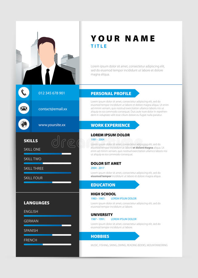 Personal Resume Modern Template In Blue Style Vector Stock Vector - personal resume