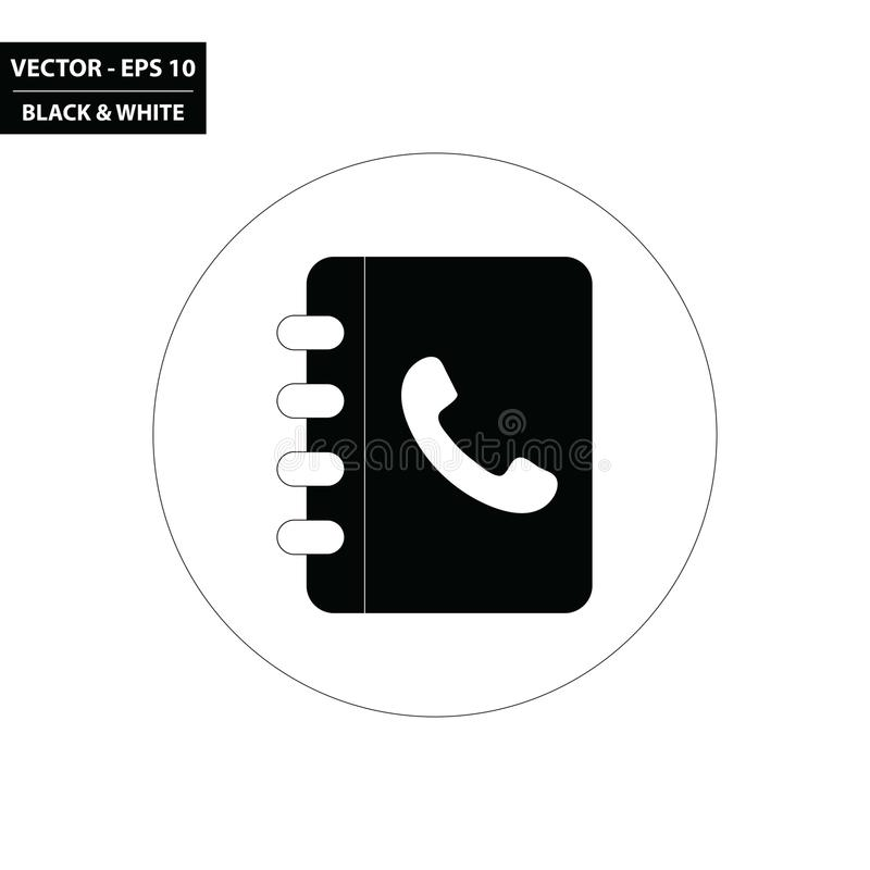 Phone Book Black And White Flat Icon Stock Vector - Illustration of - business phone book