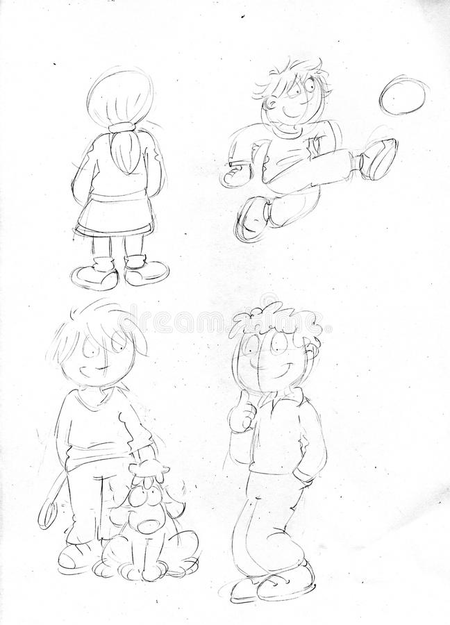 Pigtailed Little Girl With Baby Footballer And Boy With Dog,sketches