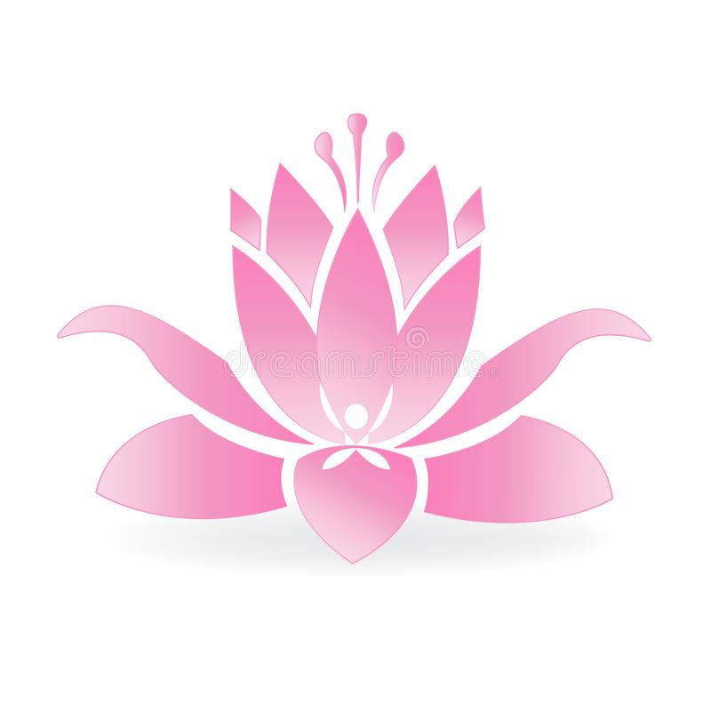 Lotus flower yoga and fitness spotgymyoga pink lotus flower and yoga man logo stock vector ilration of mightylinksfo