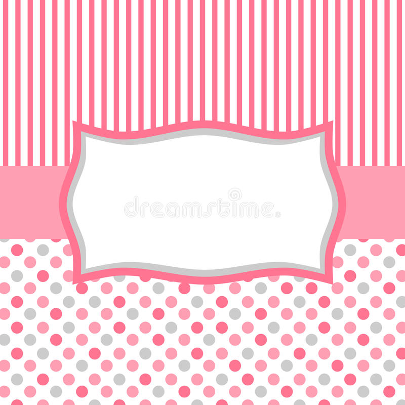 Pink Polka Dots And Stripes Invitation Card Stock Illustration