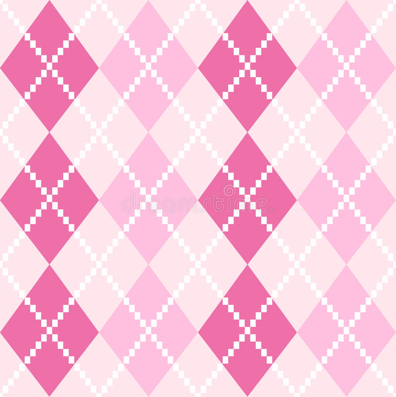 Cute Paw Print Wallpaper Pink Seamless Argyle Pattern For Valentines Day Stock