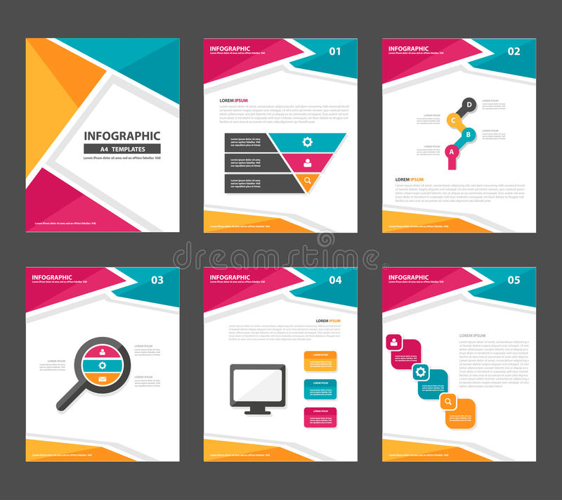 Pink Yellow Green Infographic Elements Presentation Template Flat - marketing flyer