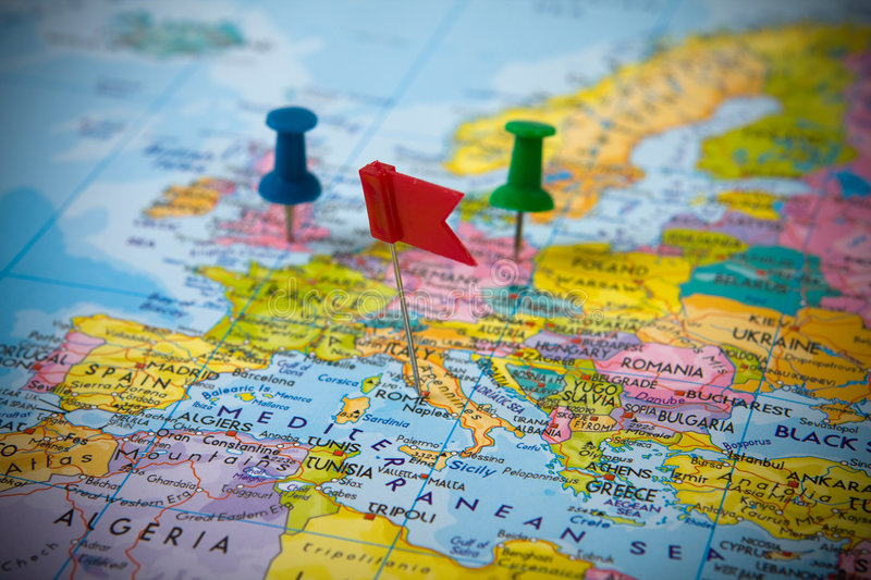 Pins in a map of Europe stock image Image of marker, paper - 6613611 - pins on a map