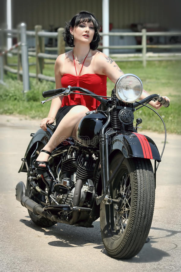 Vintage Pin Up Girl Wallpaper Pinup Woman And Motorcycle Royalty Free Stock Photography