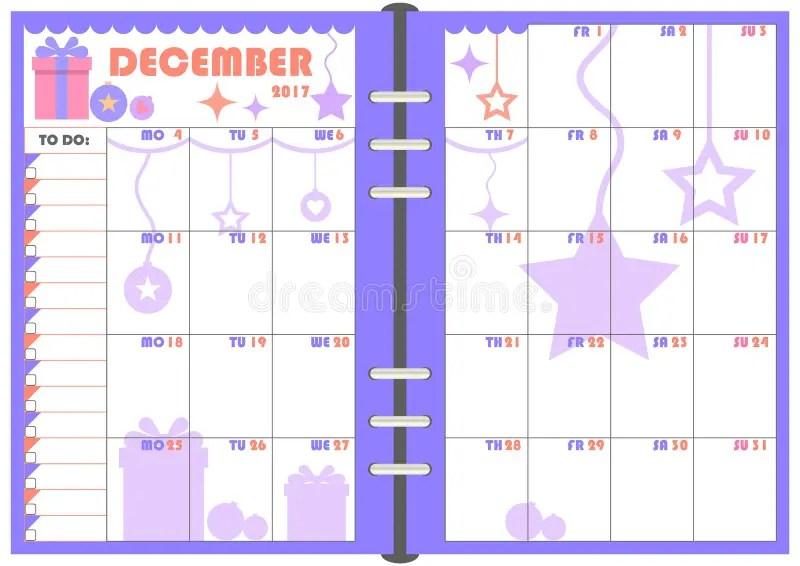 Daily Planner December 2017 Stock Vector - Illustration of binder