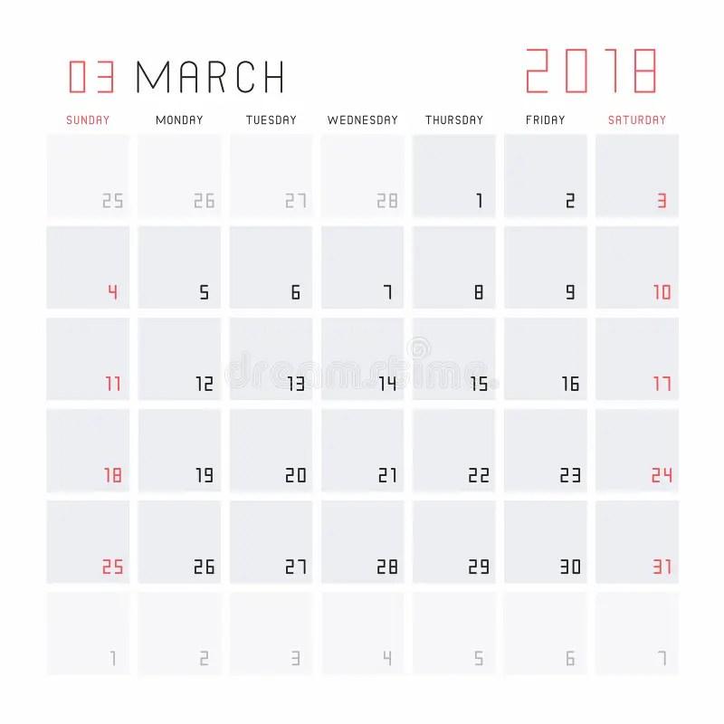 Calendar March 2018 stock vector Illustration of journal - 100098205 - monthly planning calendar
