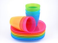 Plastic cups and plates stock photo. Image of color, cups ...