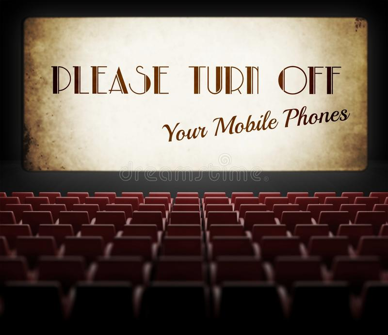 Please Turn Off Cell Phones Movie Screen In Old Cinema Stock