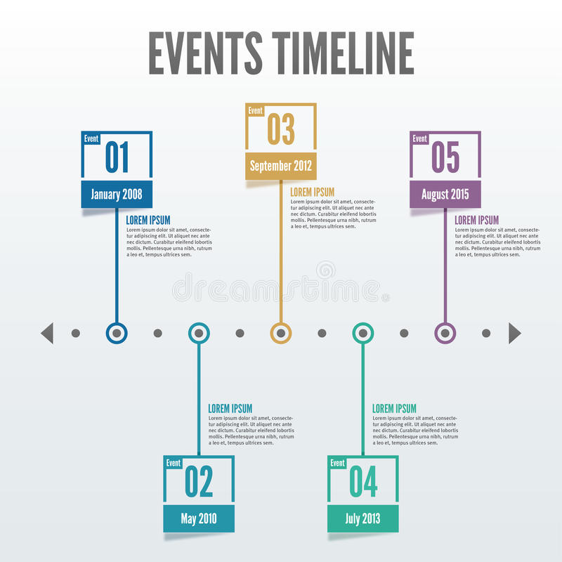 5 Point Events Timeline Infographic - Vector Stock Vector