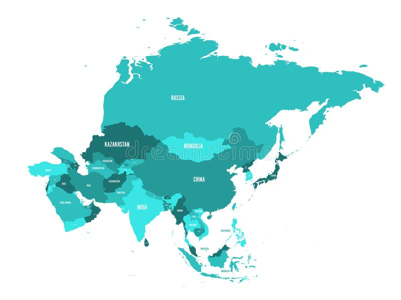 Political Map Of Asia Continent In Shades Of Turquoise Blue Vector