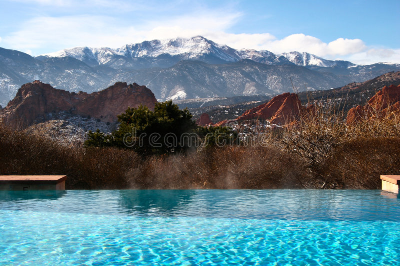 Urlaub In Den Bergen österreich Pool With Mountain View Royalty Free Stock Image - Image