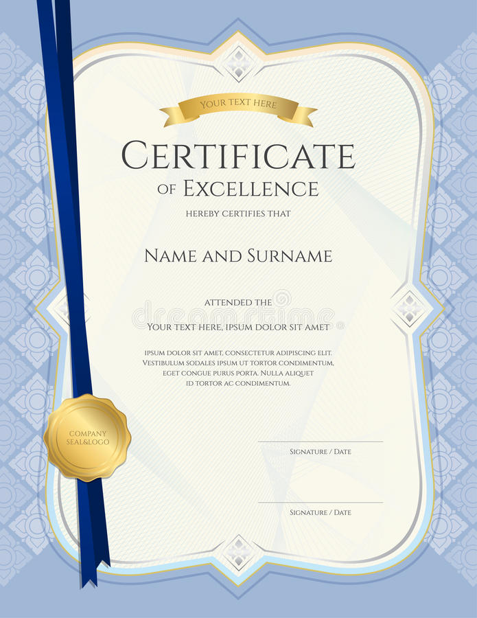 Portrait Certificate Of Achievement Template In Vector With Appl