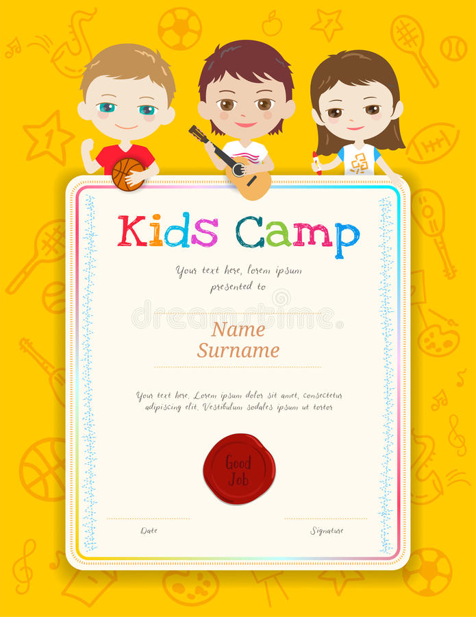 Portrait Colorful Kids Award Diploma Certificate Template In Car - certificate template for kids