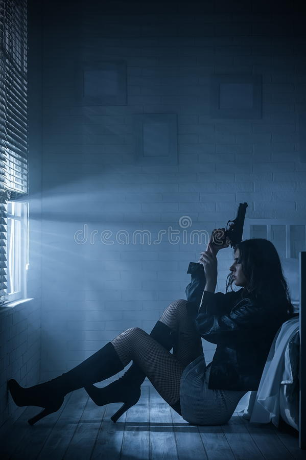 Thug Girl Wallpaper Portrait Of A Girl With A Gun Stock Image Image Of