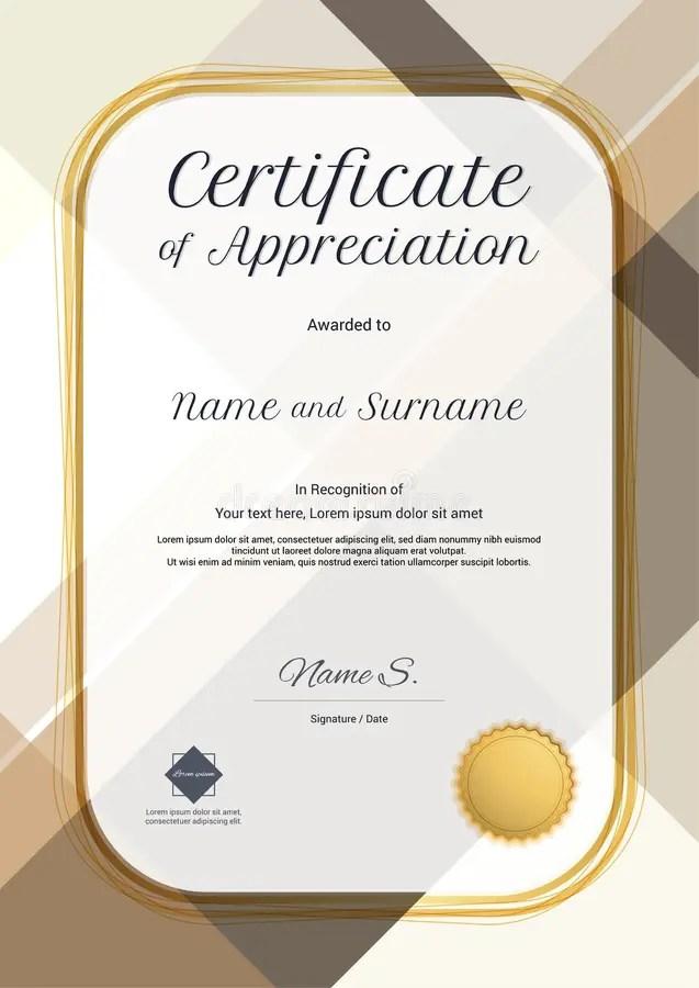 Portrait Modern Certificate Of Appreciation Template With Modern - certificate of appreciation template