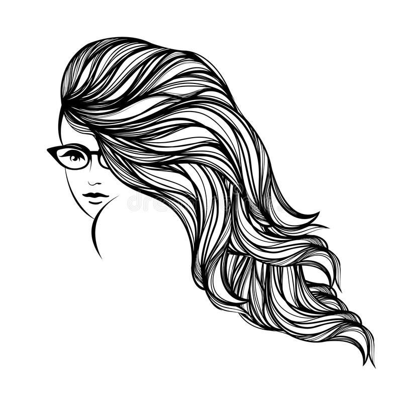 Beautiful Woman With Long, Wavy Hair, Wearing Eyeglasses Style And