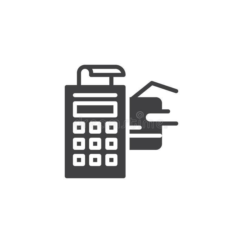 POS Terminal With Credit Card And Receipt Vector Icon Stock Vector