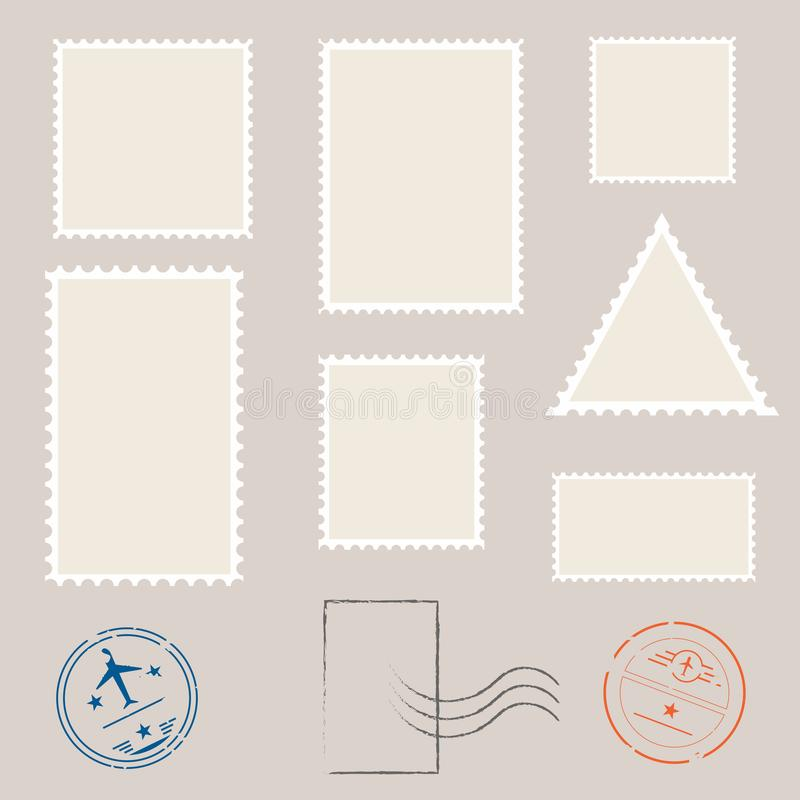Postage Stamp Template Set Of Blank Stamps Stock Vector - stamp template