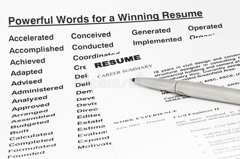 Powerful Words For Winning Resume Stock Photo - Image of hire