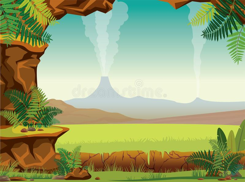 Animated Jungle Wallpaper Prehistoric Landscape Cave Fern Volcano Stock Vector