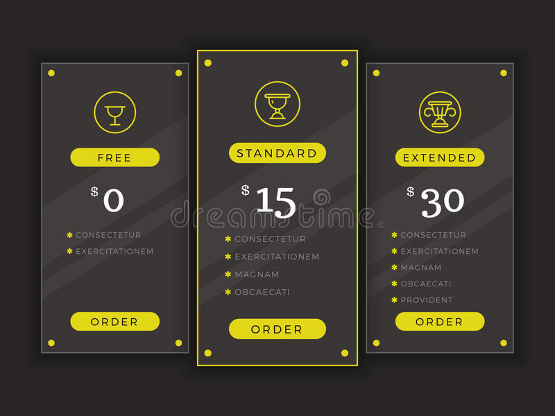 Pricing Table, Comparison Chart Vector Template Stock Vector