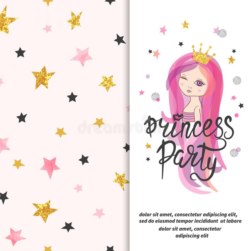 Princess Party Invitation Template For Little Girls Stock Vector
