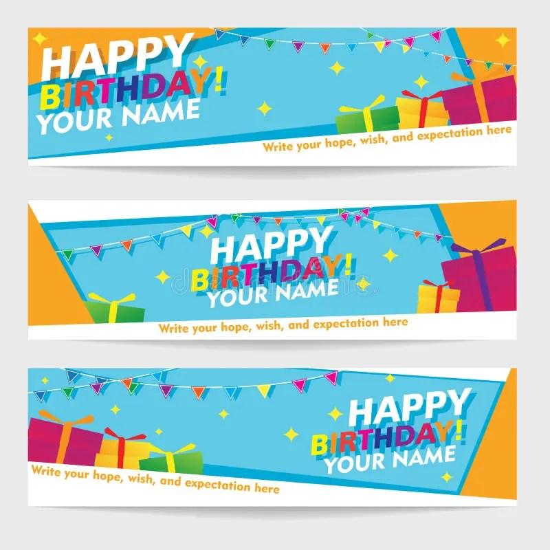 Print Editable Happy Birthday Banners Geometric Landscape Banner