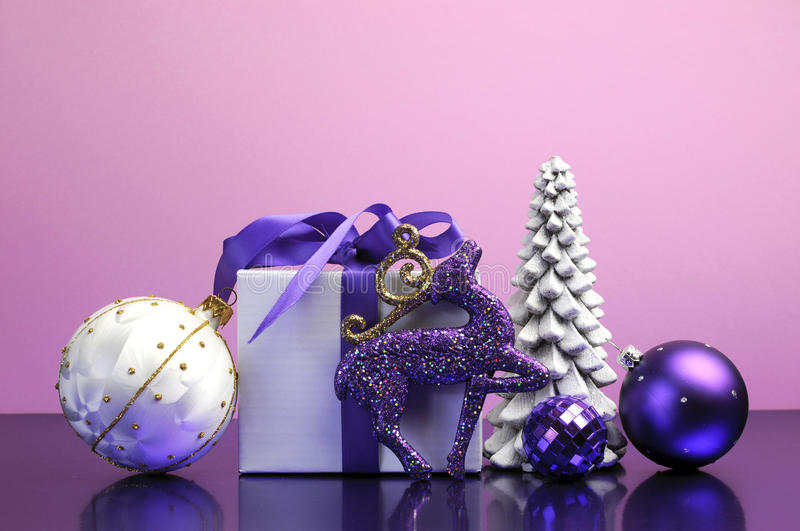 Purple Theme Christmas Gift And Bauble Decorations Stock Image