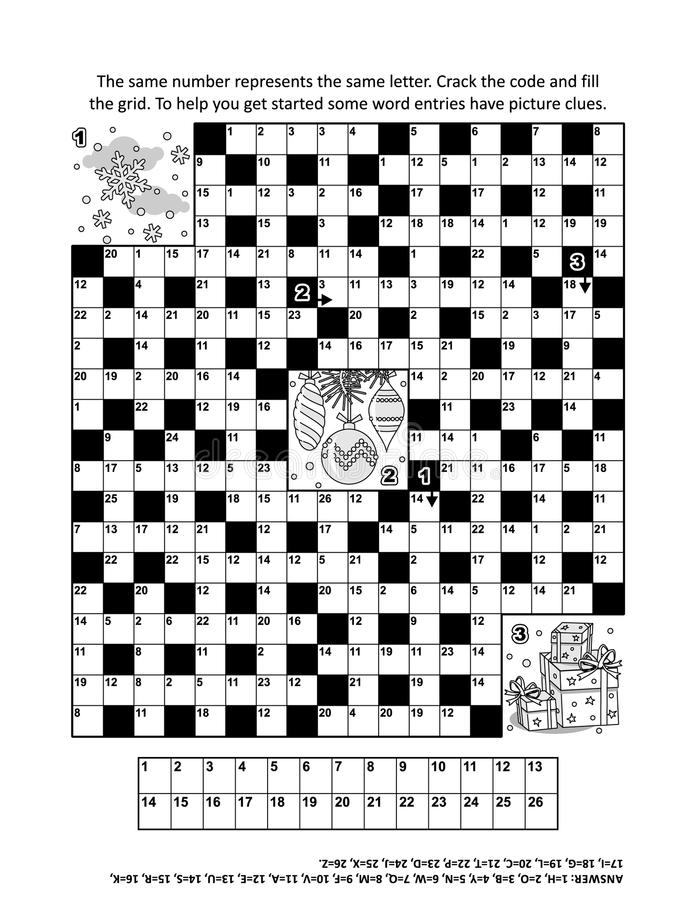 Puzzle Page With Winter Holiday Themed Codebreaker Word Game 2 Stock