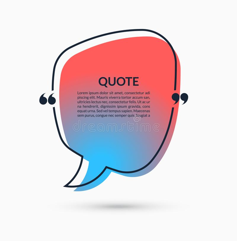 Quote Box On Trendy Gradient Background Vector Speech Bubble Text