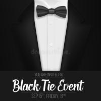 Realistic Vector Black Suit. Black Tie Event Invitation