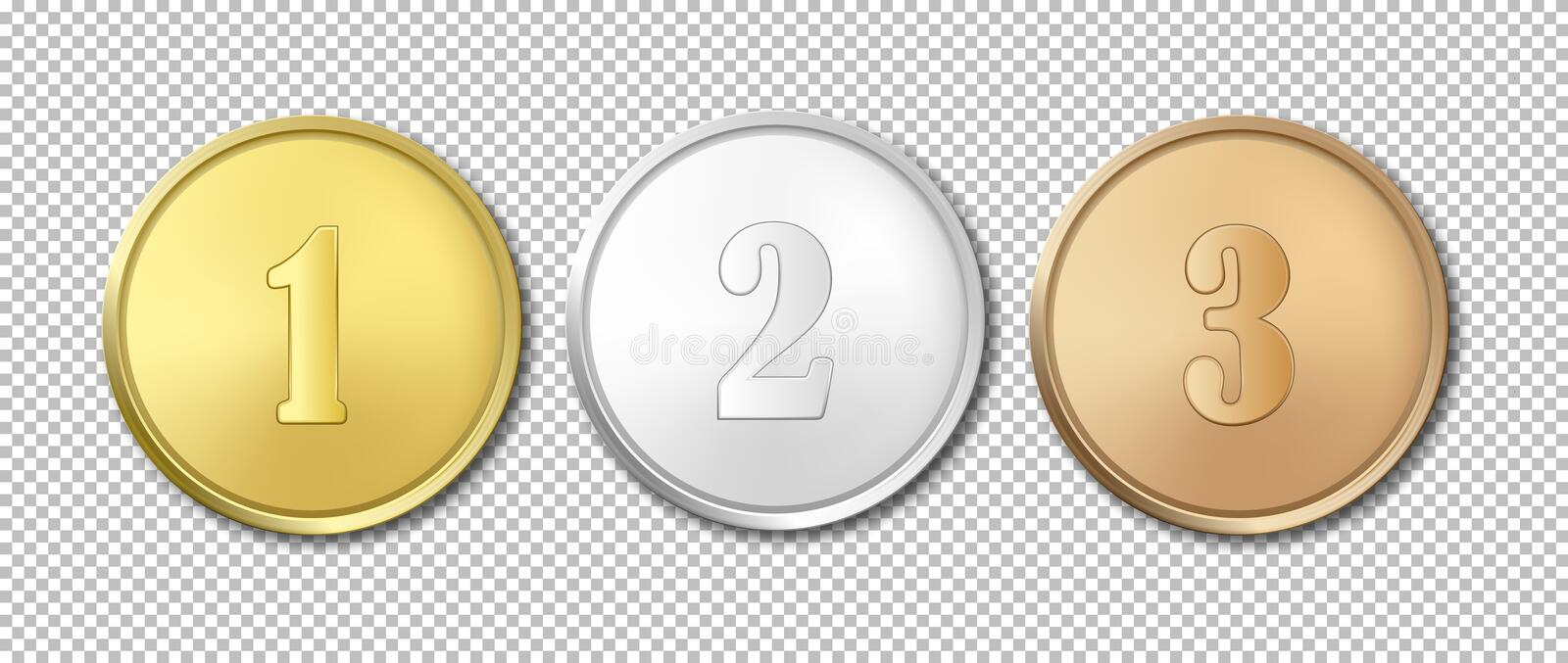 Realistic Vector Gold, Silver And Bronze Award Medals Icon Set - gold medal templates