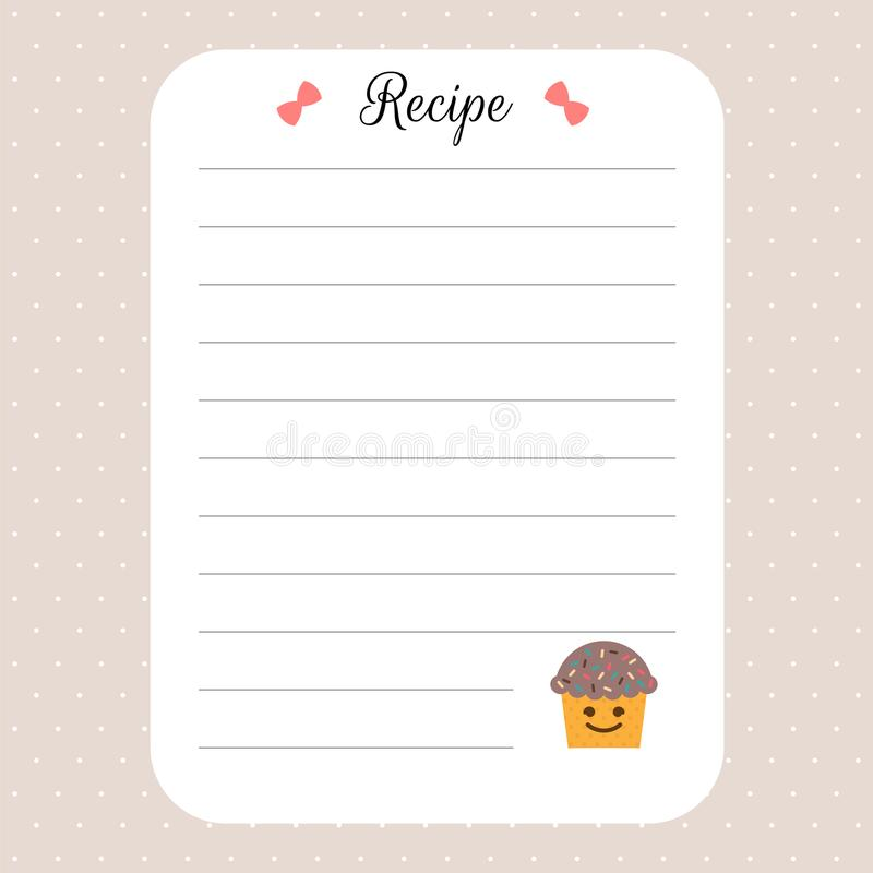 Recipe Card Template Cookbook Template Page For Restaurant, Cafe