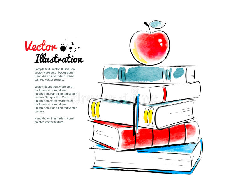 Red apple on books stock vector Illustration of graduation - 52206198