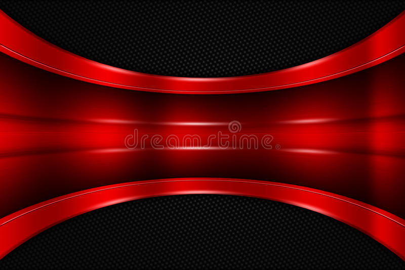 3d Carbon Fiber Wallpaper Red And Black Metal Background Stock Illustration