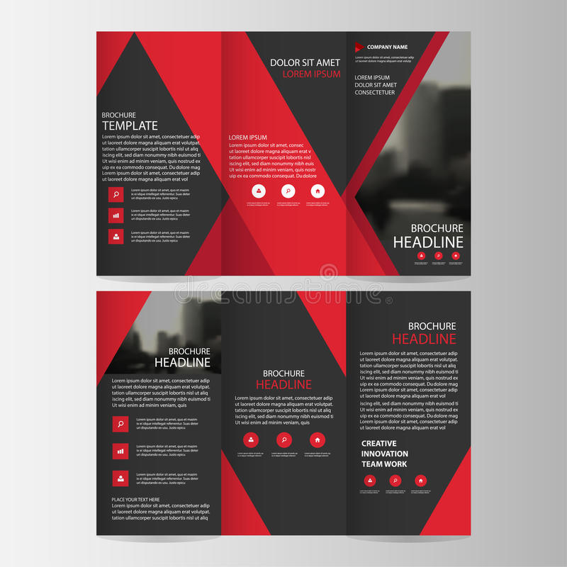 Red Black Triangle Business Trifold Leaflet Brochure Flyer Report
