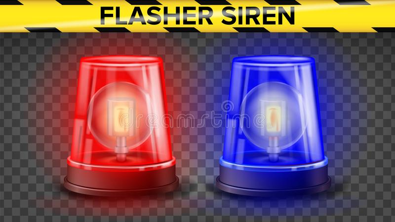 Red And Blue Flasher Siren Vector 3D Realistic Object Light Effect