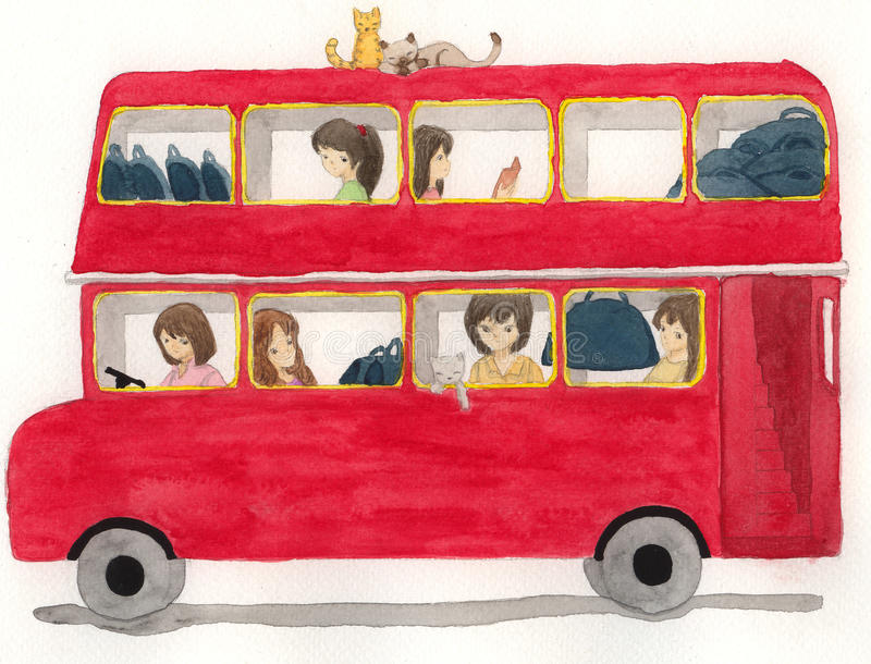red bus with girls and cat illustration royalty free stock
