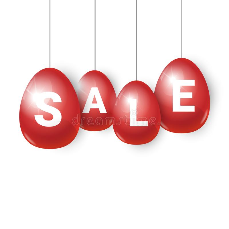 Red Easter Eggs With Sale Signs Hanging On White Background Holiday - sale signs