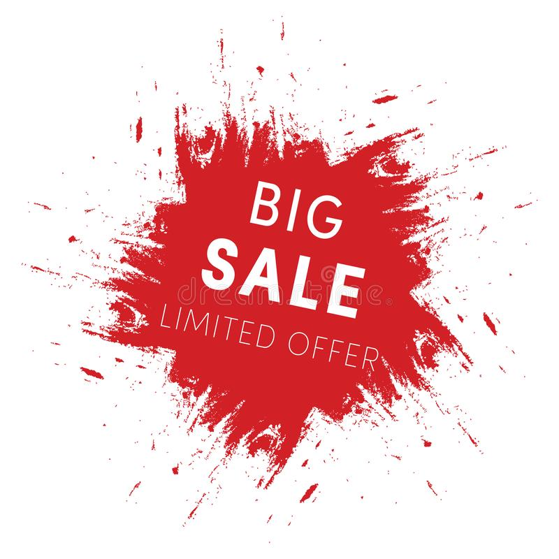 Red Ink Splash, Big Sale Tag Template Limited Offer Sign Isolated - sale tag template