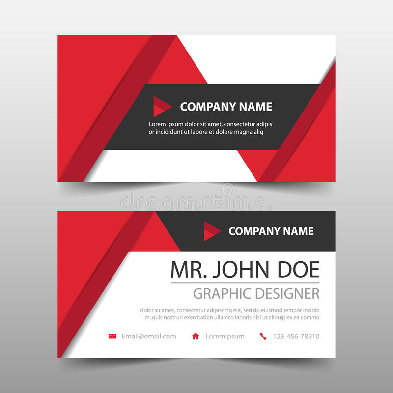 Red Triangle Corporate Business Card, Name Card Template ,horizontal - business card template