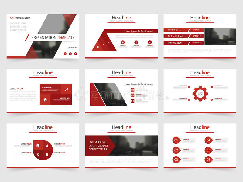 Red Triangle Presentation Templates, Infographic Elements Template