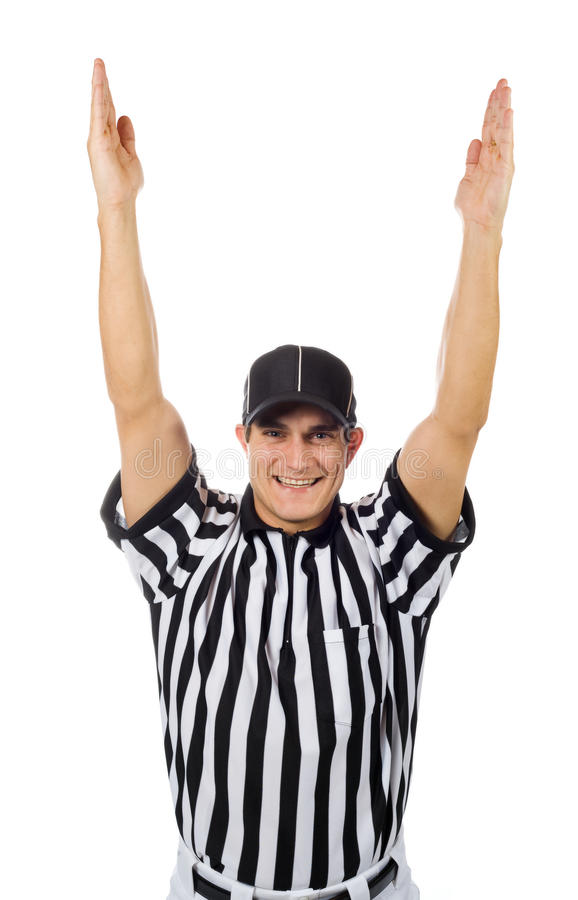 Referee football official signals a touchdown stock photo