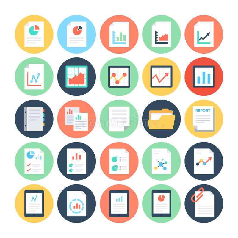 Reports And Analytics Colored Vector Icons 2 Stock Illustration - reports designs