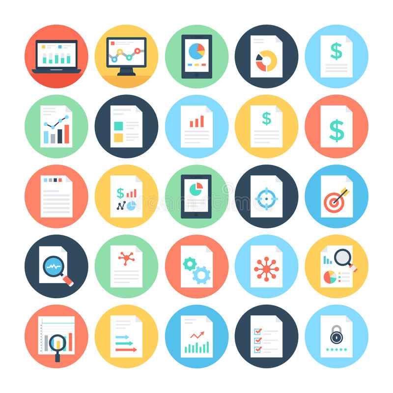 Reports And Analytics Colored Vector Icons 3 Stock Illustration