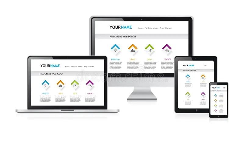 Responsive Web Design Vector Illustration, White Modern Web Site